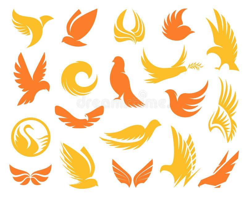 De geïsoleerde abstracte gele en oranje kleurenvogels silhouetteert emblemeninzameling op witte achtergrond, vleugels en veren vector illustratie