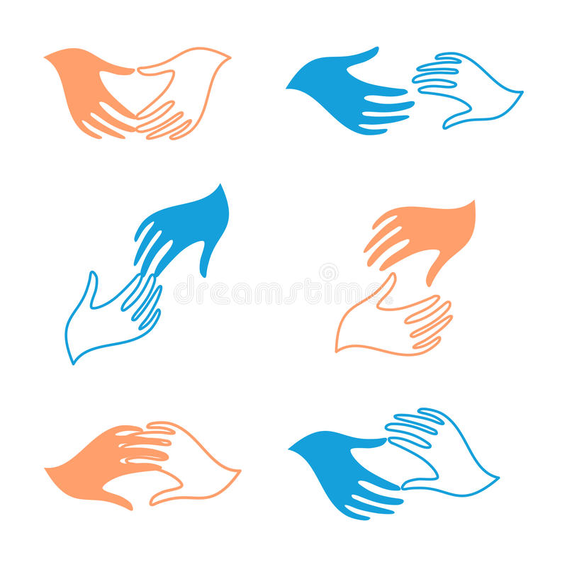 De geïsoleerde abstracte menselijke reeks van het handen vectorembleem Wat betreft vingers logotypes royalty-vrije illustratie