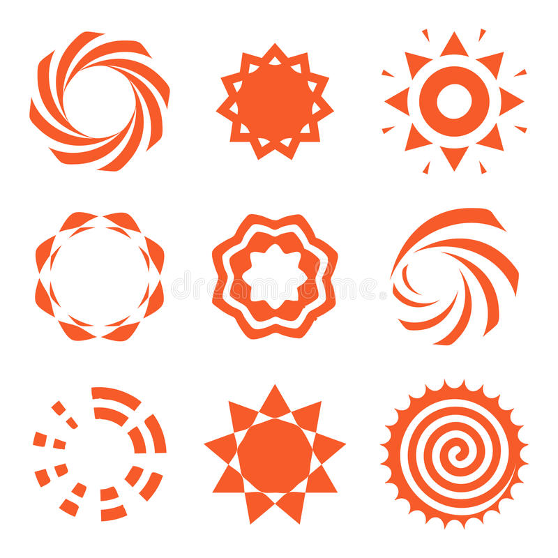 De geïsoleerde abstracte ronde het embleeminzameling van de vorm oranje kleur, zon logotype plaatste, geometrische cirkels vector stock illustratie