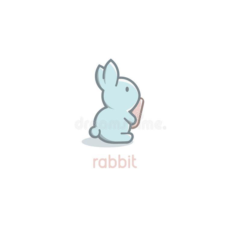 De geïsoleerde baby van het beeldverhaal leuke blauwe konijn met oranje wortelembleem op witte achtergrond De gelukkige dag van P royalty-vrije illustratie