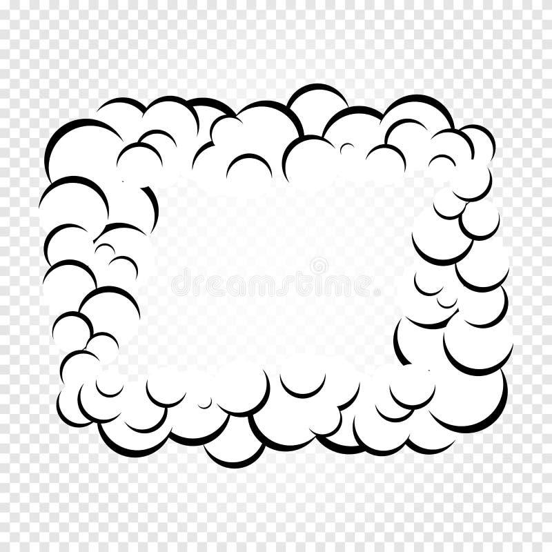 De geïsoleerde bellen van de beeldverhaaltoespraak, kaders van rook of stoom, de wolk van de strippaginadialoog, vectorillustrati vector illustratie