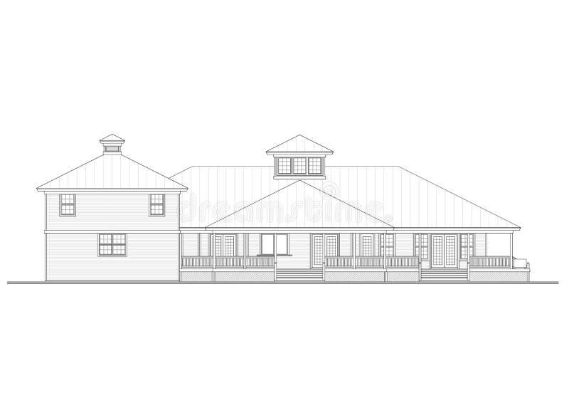 De geïsoleerde blauwdruk van de huisarchitect - stock illustratie