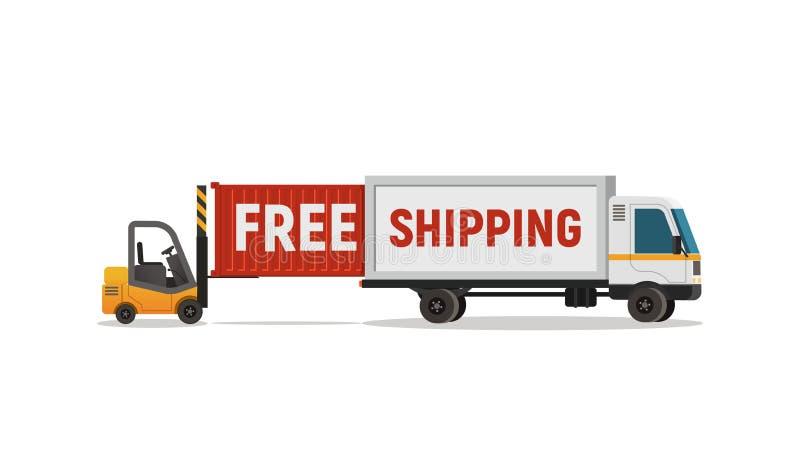 De geïsoleerde cartoons lader leegt het voorwerp van de vrachtwagenvector Leveringsservice voor gratis verzending vector illustratie