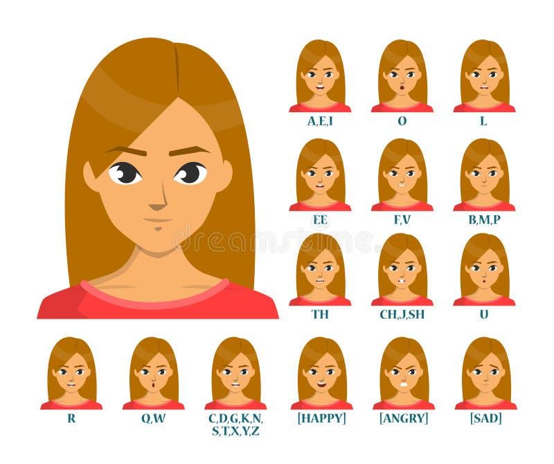 De geïsoleerde illustratie van de mondanimatie vector Lippenbeweging royalty-vrije illustratie