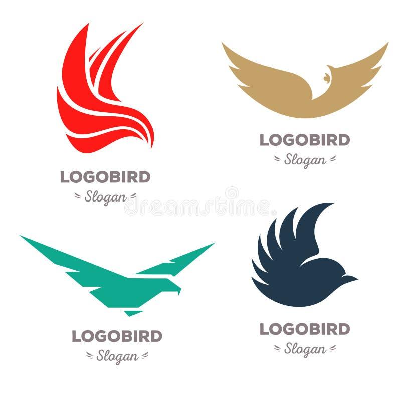 De geïsoleerde kleurrijke het vliegen reeks van het vogels vectorembleem Dierlijke logotypesinzameling stock illustratie