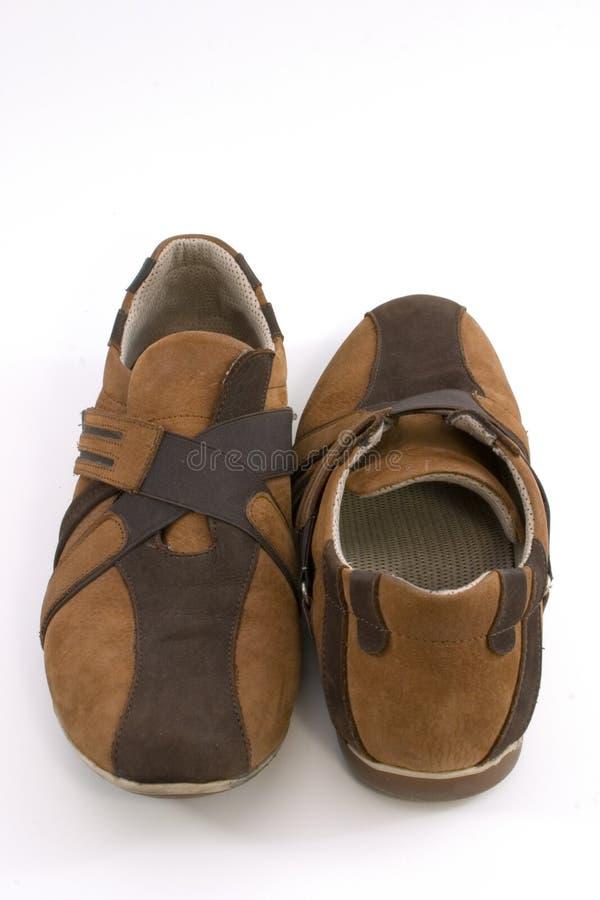 De geïsoleerde Moderne Bruine Schoenen van Sporten royalty-vrije stock afbeeldingen