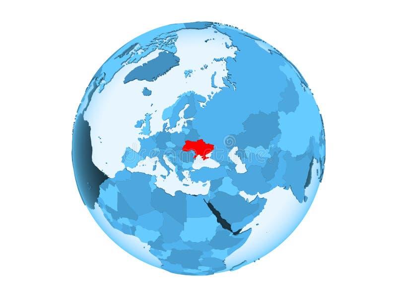 De geïsoleerde Oekraïne op blauwe bol vector illustratie