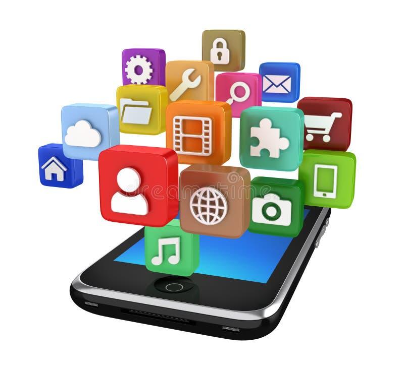 De geïsoleerde pictogrammen van Smartphone App - vector illustratie