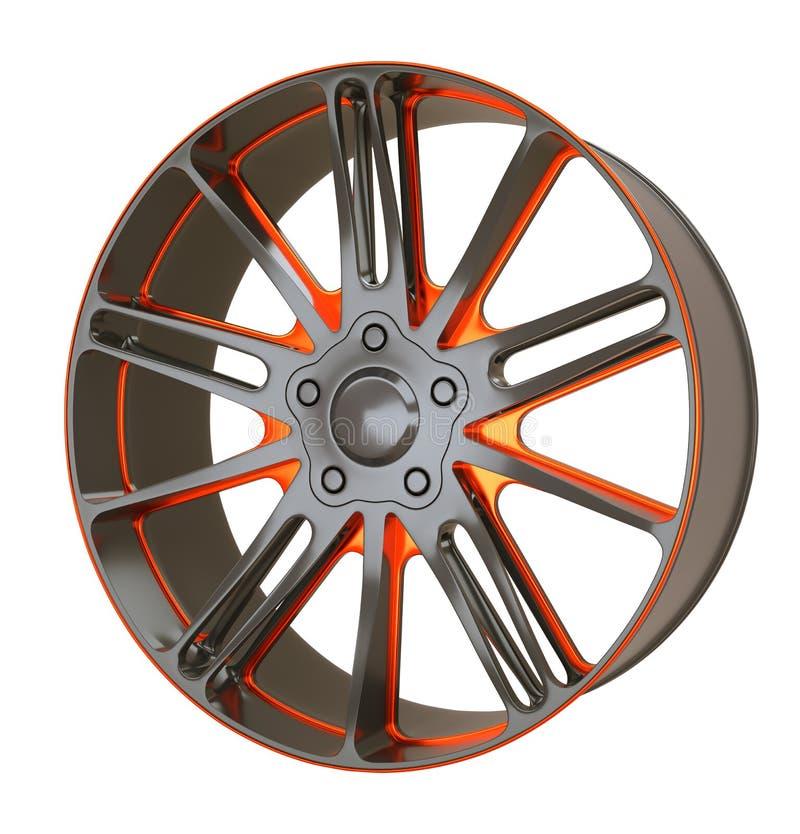 De geïsoleerde schijf of het wiel van de voertuiglegering stock illustratie