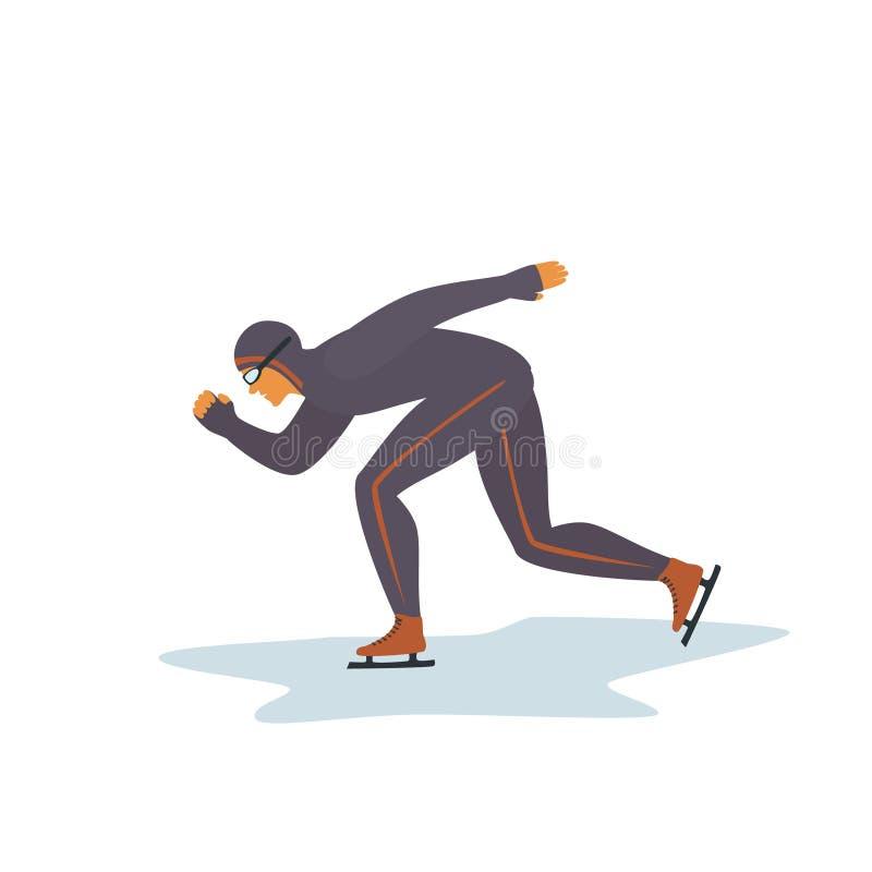 De geïsoleerde vector grafische illustratie van de sportmansnelheid het schaatsen royalty-vrije illustratie