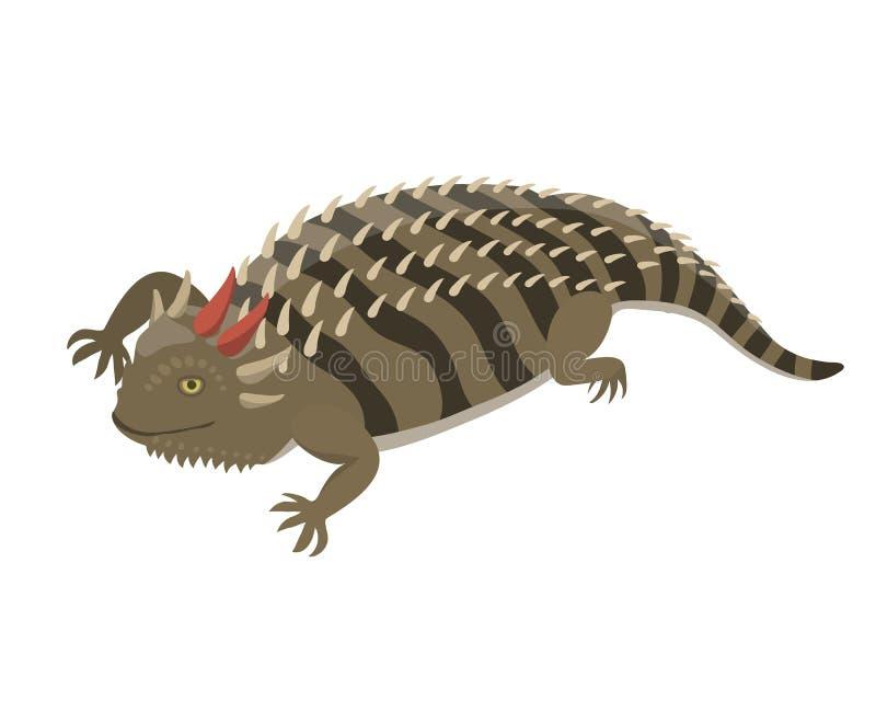 De geïsoleerde vectorillustratie van de Goannahagedis reptiel royalty-vrije illustratie