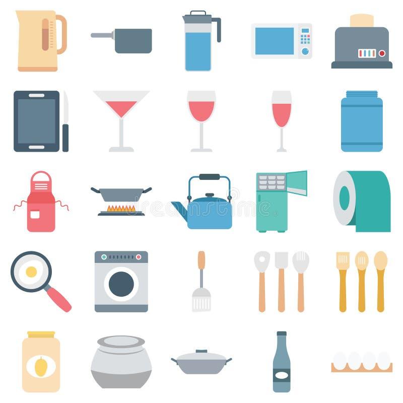 De Geïsoleerde Vectorpictogrammen van het keukenmateriaal Kleur stock illustratie