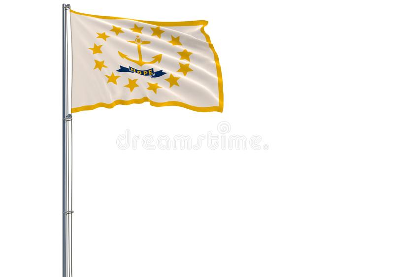 De geïsoleerde vlag van de staat van de V.S. van Rhode Island vliegt in w royalty-vrije illustratie