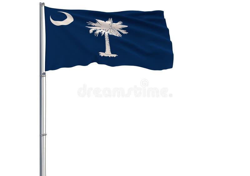De geïsoleerde vlag van de staat van de V.S. van Zuid-Carolina vliegt in wind, 3 stock illustratie