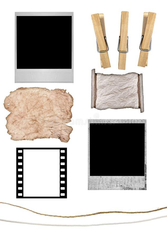 De geïsoleerde Wasknijpers van de Polaroidcamera en van het Document Grunge en royalty-vrije illustratie