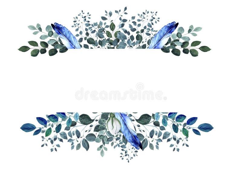 De geïsoleerde waterverf bloemenelementen met groen takje en bluen veren vector illustratie