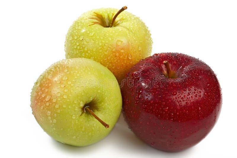 De geïsoleerded trio verse appelen stock afbeeldingen