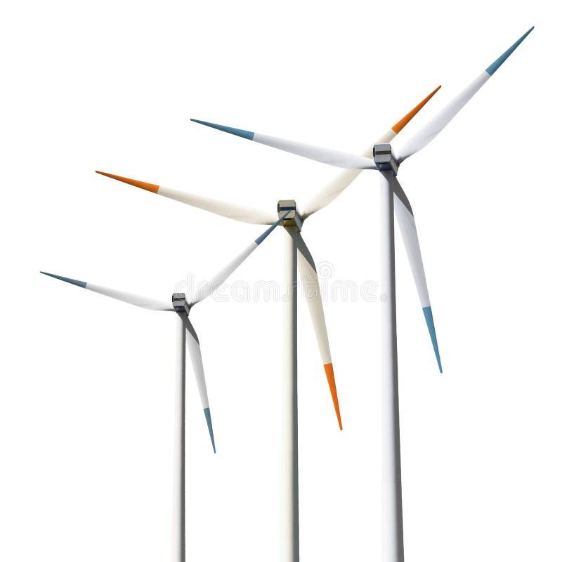 De geïsoleerdeg turbines van de wind, royalty-vrije stock foto's