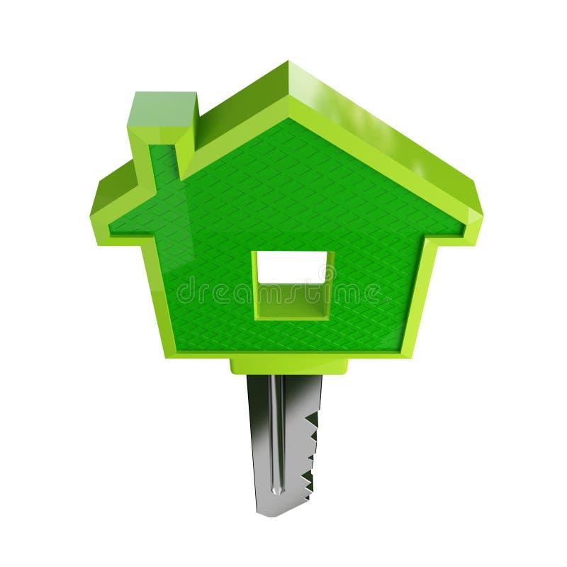De geïsoleerdeh groene sleutel van het ecohuis stock illustratie