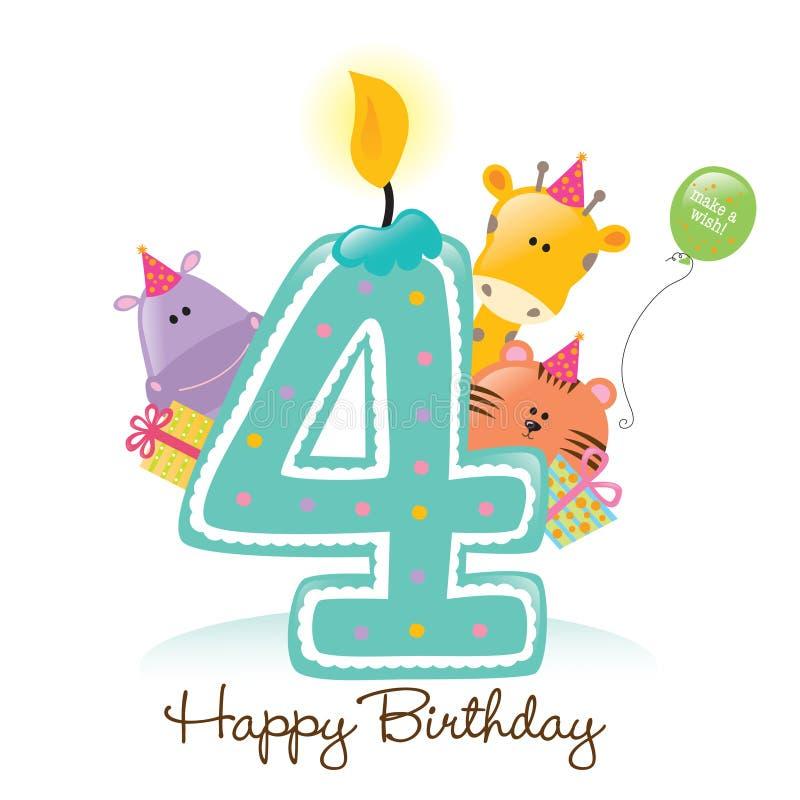 De Geïsoleerdei Kaars en de Dieren van de verjaardag vector illustratie