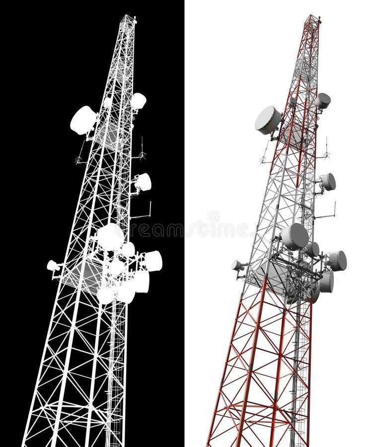 De geïsoleerdeo mobiele toren van de telefoonantenne stock foto