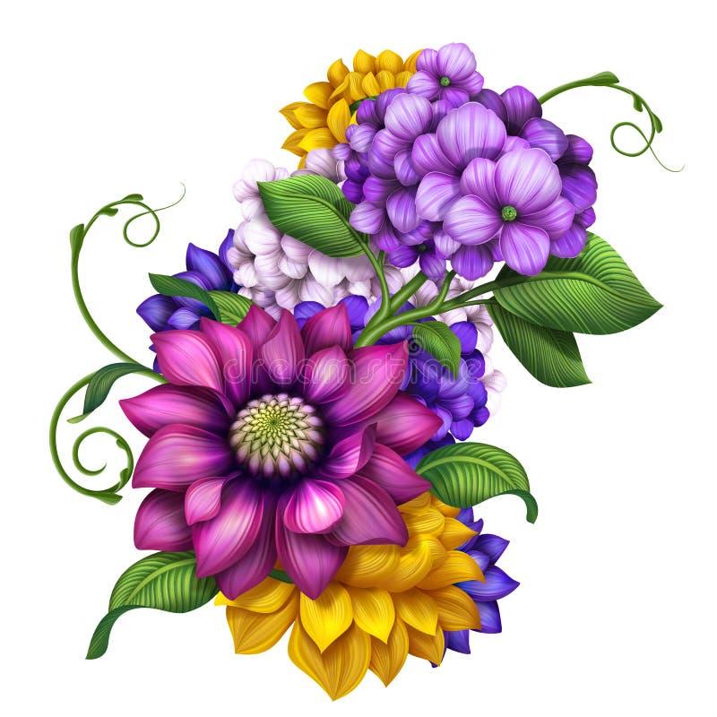 de geassorteerde kleurrijke illustratie van de de klemkunst van de herfstbloemen royalty-vrije illustratie