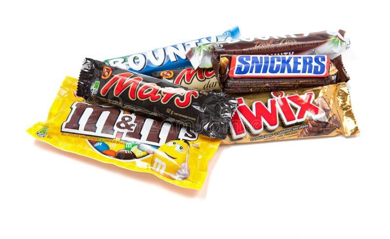 De geassorteerde Mars Opgenomen Producten van de Chocolade stock afbeeldingen