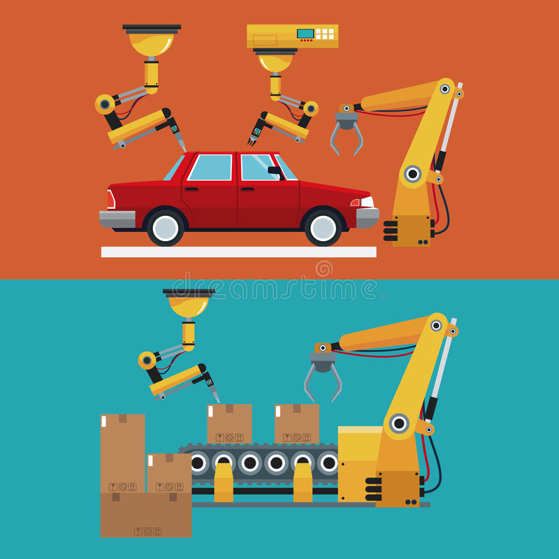 De geautomatiseerde banner van de productielijn robotachtige fabriek stock illustratie