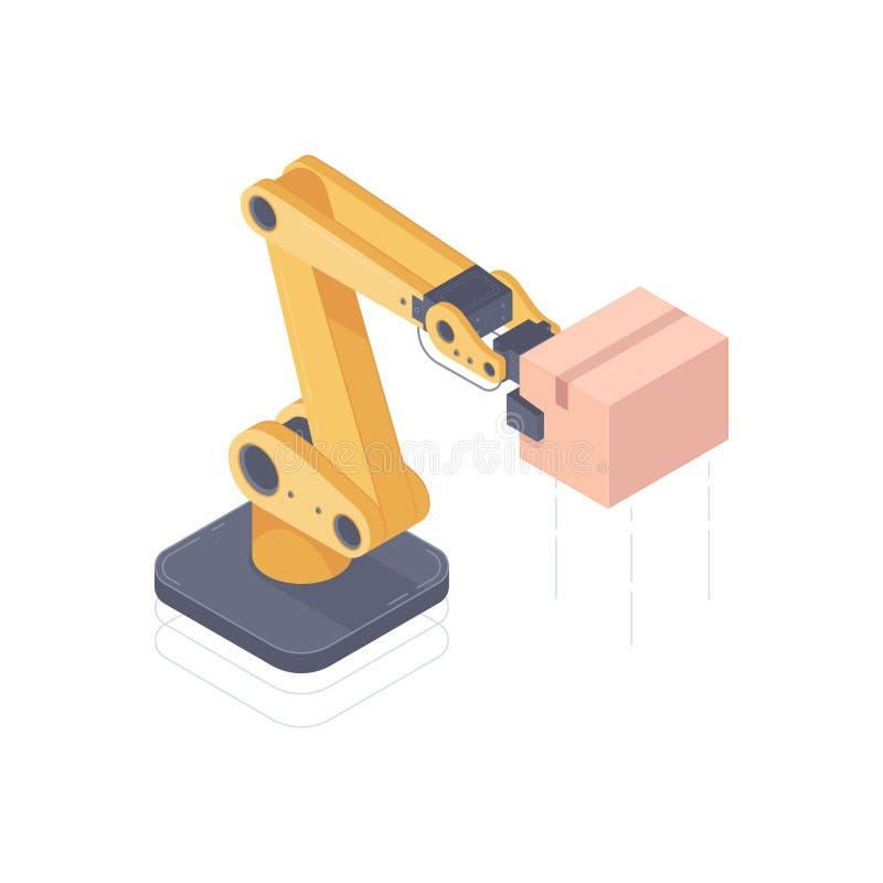 De geautomatiseerde isometrische vectorillustratie van het robotwapen stock illustratie