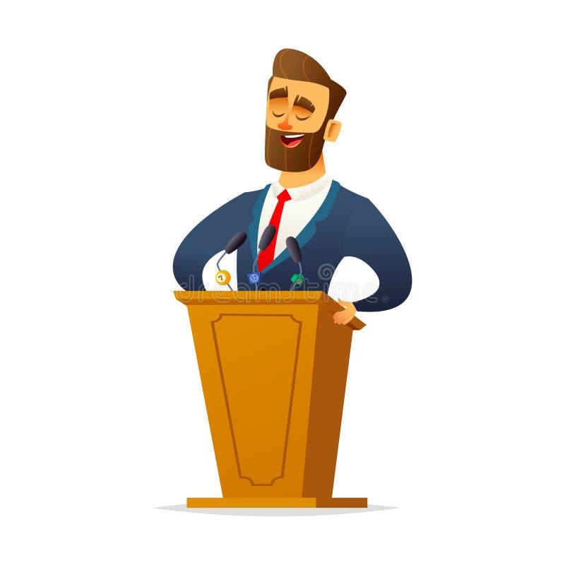 De gebaarde charismatische mannelijke spreker bevindt zich achter het podium en spreekt Beeldverhaal vlak karakter designe vector illustratie