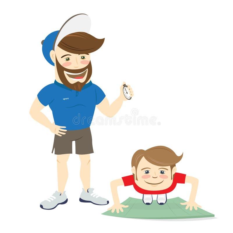 De gebaarde instructeur van de geschiktheids persoonlijke trainer en grappige sportman royalty-vrije illustratie