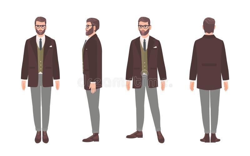 De gebaarde mens kleedde zich in elegant formeel bureaukleren of pak Mannelijk die beeldverhaalkarakter op wit wordt geïsoleerd vector illustratie