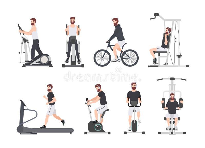 De gebaarde mens kleedde zich in sportenkleren die fitness opleiding op oefeningsmachines doen bij gymnastiek Mannelijk beeldverh royalty-vrije illustratie