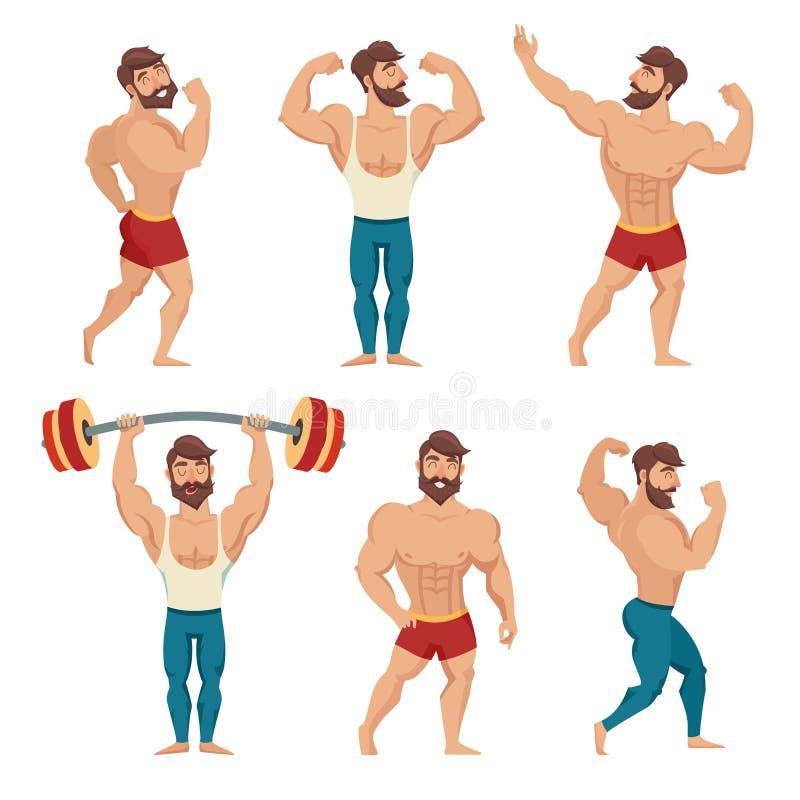 De gebaarde reeks van spier, bemant vectorillustratie Geschiktheidsmodellen, het stellen, het bodybuilding stock illustratie