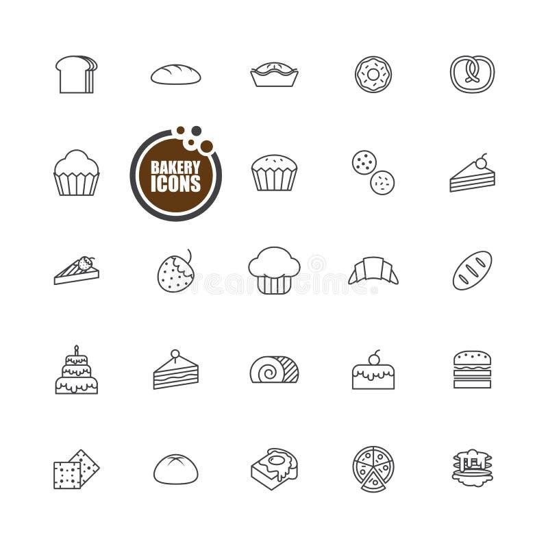 De gebakken reeks van de de pictogrammenlijn van het bakkerijbrood royalty-vrije illustratie