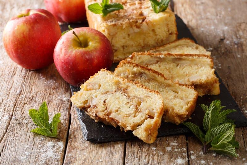 De gebakken zoete pastei van het appelbrood met kaneel en muntclose-up Hor royalty-vrije stock foto's