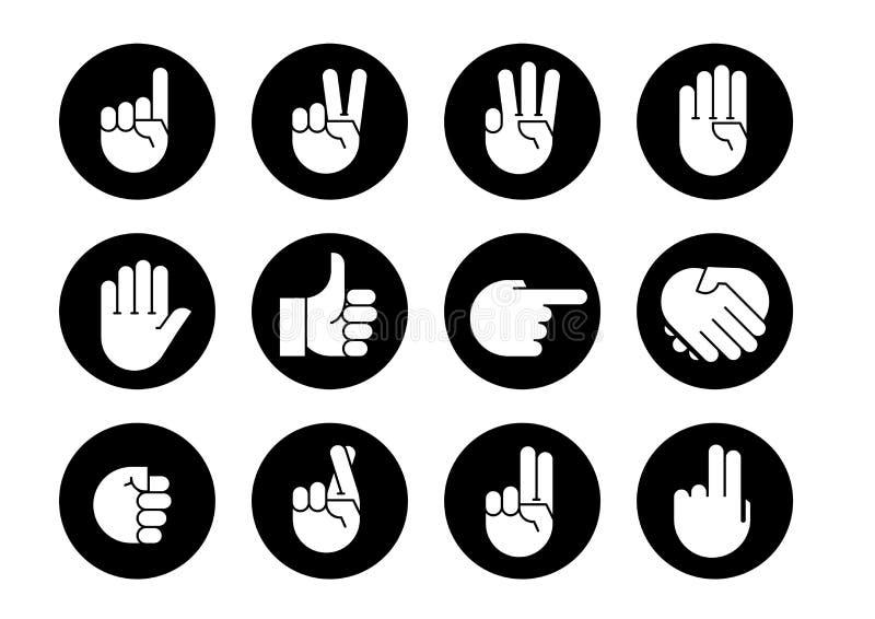 De gebaren van de hand Geplaatste pictogrammen vector illustratie