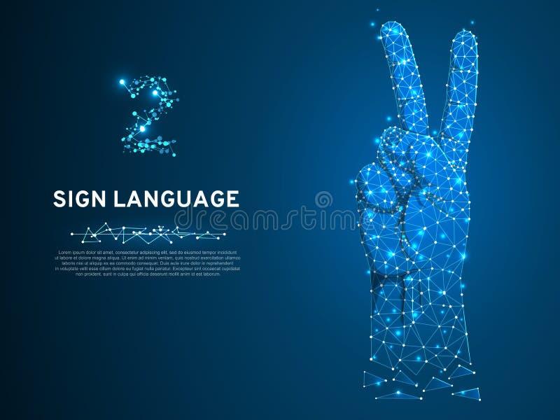 De gebarentaal nummer twee gebaar, vingers omhoog, dient vredes Veelhoekige lage poly in Doven communicatie Vector vector illustratie