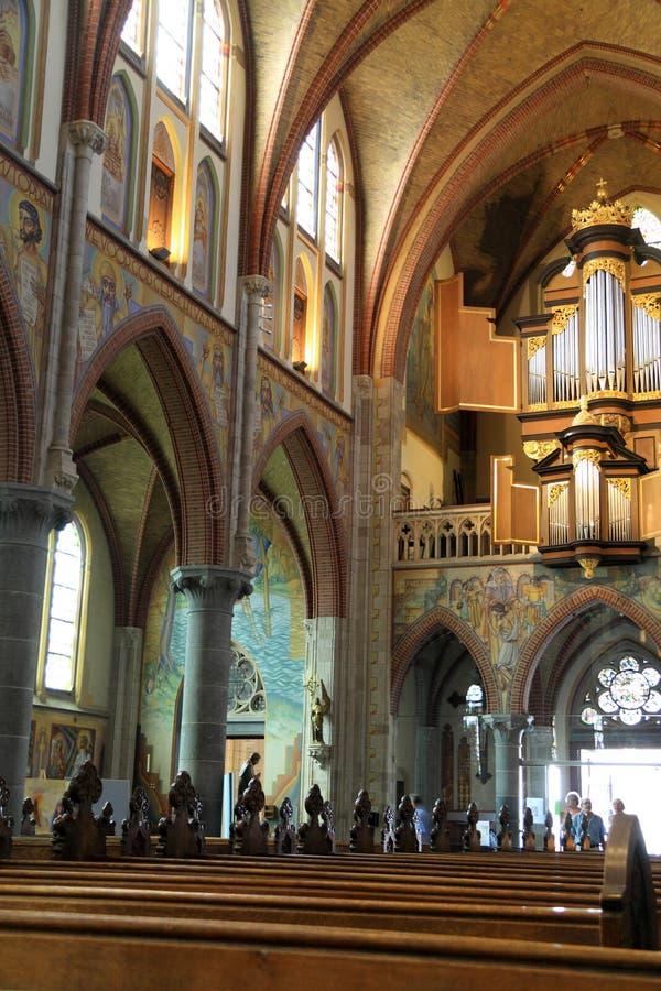 De gebedsectie van Martinus Church is een Neogotische basiliek in Cuijk Nederland royalty-vrije stock fotografie
