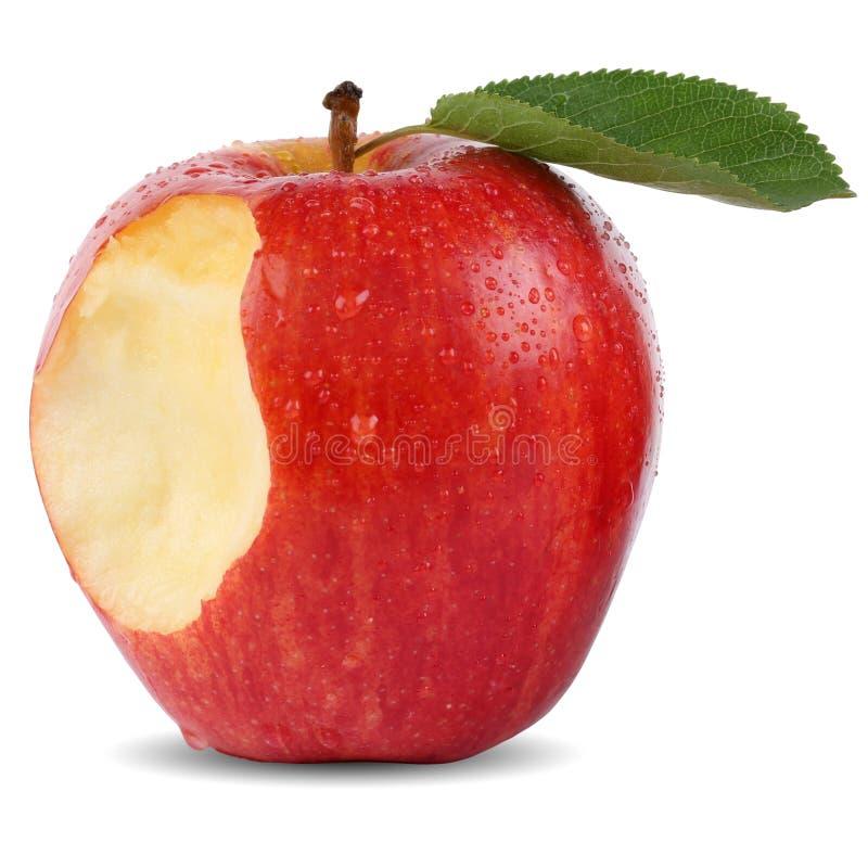 De gebeten rode ontbrekende geïsoleerde beet van het appelfruit stock foto's