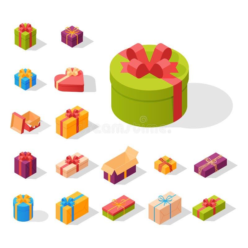 De gebeurtenis die van de het paksamenstelling van giftdozen isometrische verjaardags vectorillustratie begroeten stock illustratie