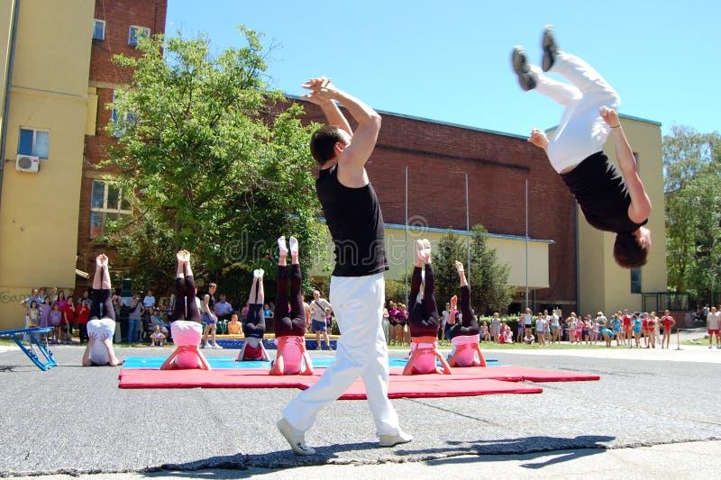 De gebeurtenis van de gymnastiek in Novi Sad stock afbeelding