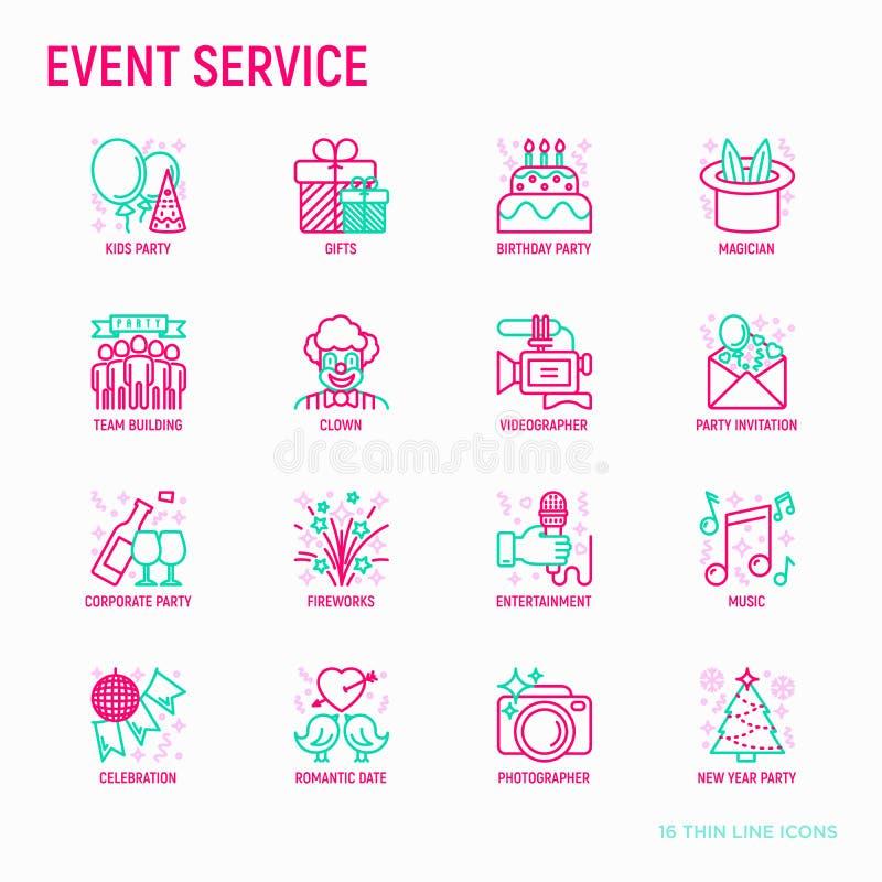 De gebeurtenisdiensten verdunnen geplaatste lijnpictogrammen vector illustratie