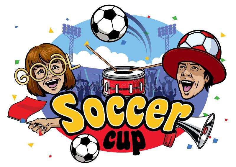 De gebeurtenisontwerp van de voetbalkop royalty-vrije illustratie
