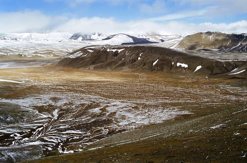 De gebieden van de lava met sneeuw stock afbeeldingen