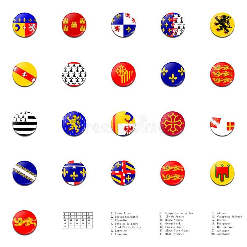 De gebieden van Frankrijk markeert bal royalty-vrije illustratie