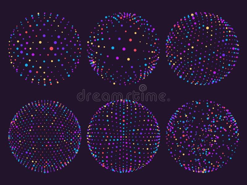 De gebieden van het wetenschapsatoom, puntenorbs of deeltjesbaan Gebied van het meetkunde 3d net voor futuristische grafiek of ab stock illustratie