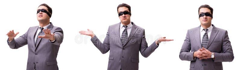 De geblinddochte die zakenman op wit wordt geïsoleerd stock foto