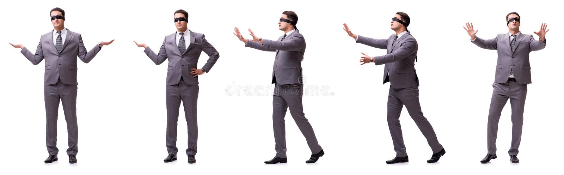 De geblinddochte die zakenman op wit wordt geïsoleerd royalty-vrije stock foto