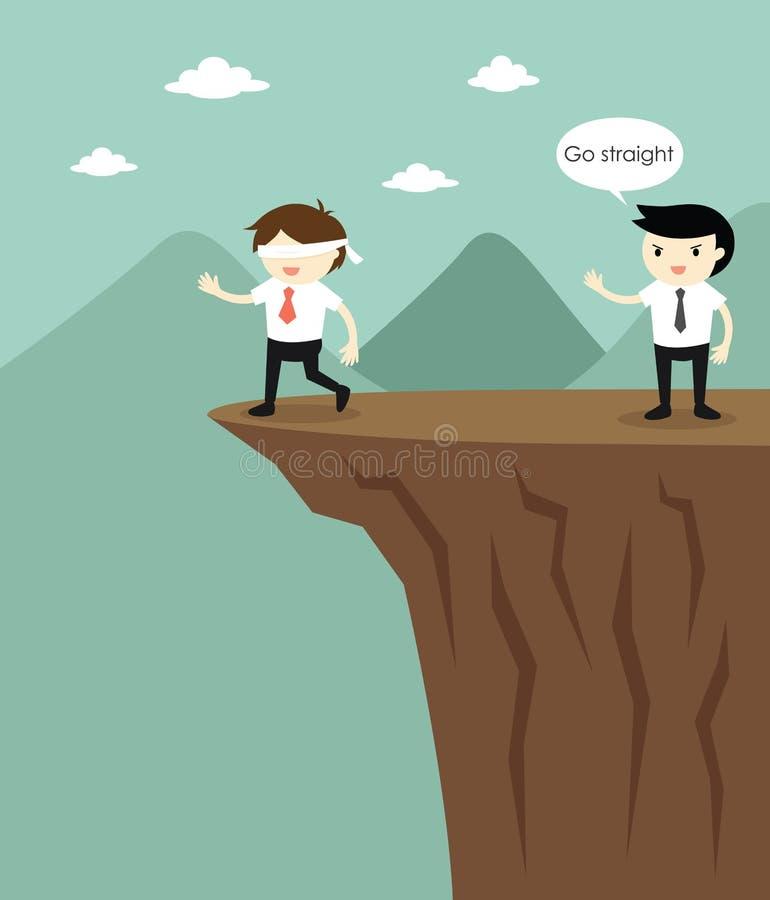 De geblinddochte zakenman loopt aan de klip omdat een andere zakenman hem voor de gek hield vector illustratie